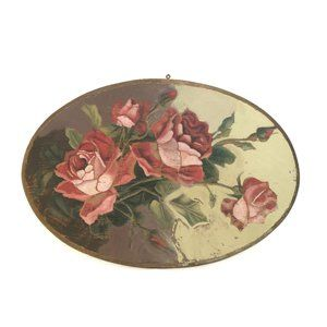 Vintage Chippy Shabby Chic Roses On Wood Plaque